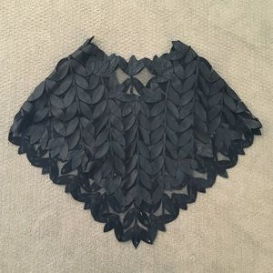 Designer Black Leaf Leather and Mesh Poncho